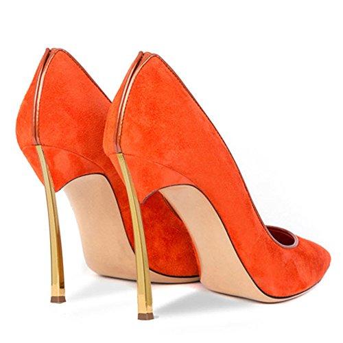 Damen Große Größe Pumps Spitze Zehen High-Heels Stiletto Rutsch Hochzeit Party Samt-Orange