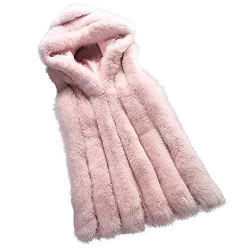 Mode Mantel Damen feiXIANG Outwear Strickjacke Jacke Kunstpelz Frauen Weste Gilet(Rosa,3XL)