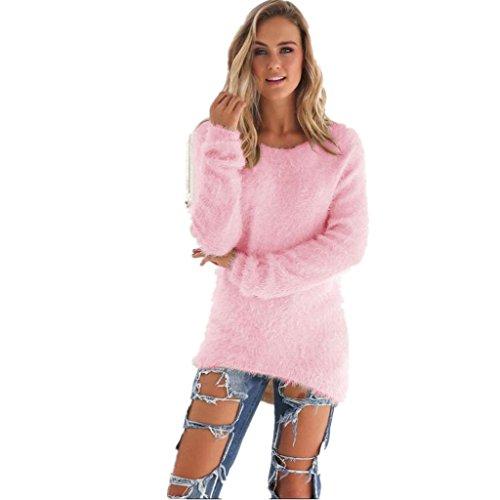 Rosa Kostüm Parks - Amlaiworld Sweatshirts Winter bunt plüsch locker pullis Damen komfortabel Sport Sweatshirt warm flauschig Lang Pullover (Rosa, XL)