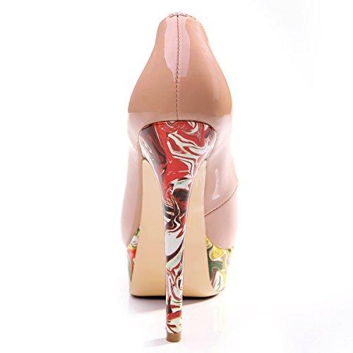 Onlymaker Damenschuhe High Heels Pumps Peep Toe Stiletto Plateau Absatz Lackleder druck rosa