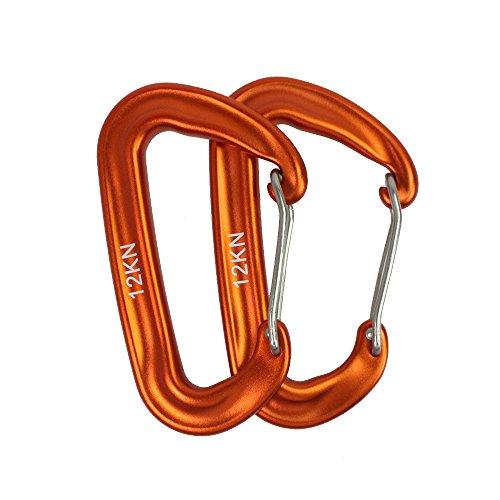 PSKOOK 12KN Aluminium aus der Luftfahrt Karabiner Leicht Karabiner Keychain Haken Schnalle für Hängematten Backpacking Clips für Hängematte Klettern Rocking (Orange 2PCS)