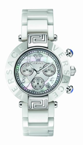 Versace 95CCS1D497 SC01 - Reloj analógico de cuarzo unisex, correa de cerámica color blanco