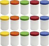 15 Salbendöschen, Creme-döschen, Salbenkruke hoch, 75ml Inhalt mit farbigen Deckeln - MADE IN GERMANY