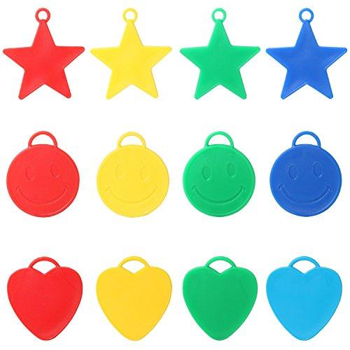 Trixes Gewichte für Helium Ballons in 25 Verschiedenen Formen und Farben Sterne Herzen Smileys für Kinder Partys Feiern und Feste