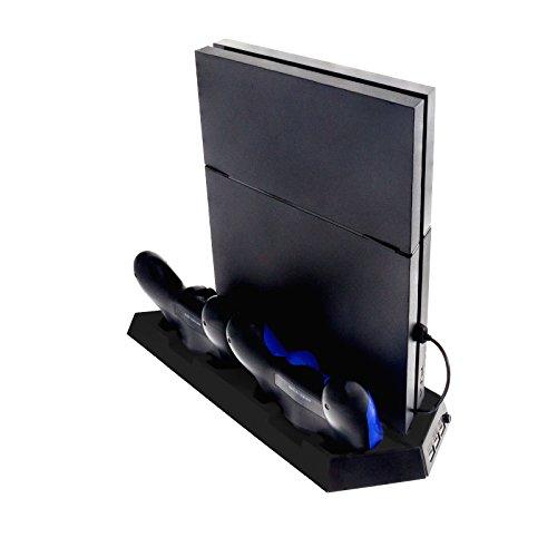 Smartfox Standfuß Ladestation Ladegerät für Sony Playstation 4 PS4 Controller Lüfter Kühler USB in schwarz