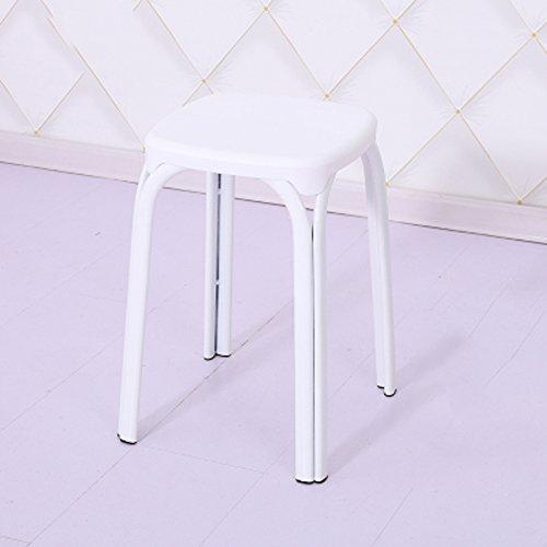 Shoe stool LUYIASI- Zwei Kunststoffhocker Startseite Gepolsterte Bank Erwachsenen Tisch Und Hocker Mode Kunststoff Stuhl Kleine Runde Hoher Hocker (30x30x46cm) (Farbe : Weiß) - Zwei Runde Hocker