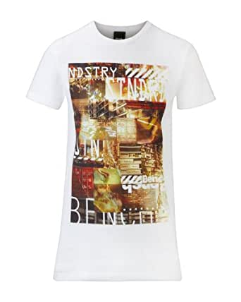 Bench Industry Standard Face Block Logo Men's T-Shirt White X-Large