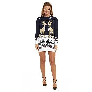 LOOKS FUNNY Premium Lustig Lange Weihnachtspullover Weihnachtspulli Long Pullis Strickpullover im Tunika-Stil für Damen mit weihnachtlichen Motiven, XS – XXXL