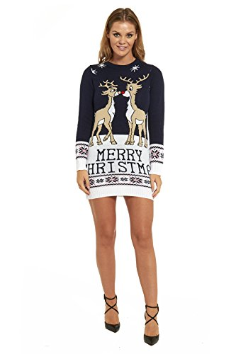 *LOOKS FUNNY Premium Lustig Lange Weihnachtspullover Weihnachtspulli Long Pullis Strickpullover im Tunika-Stil für Damen mit weihnachtlichen Motiven – L*