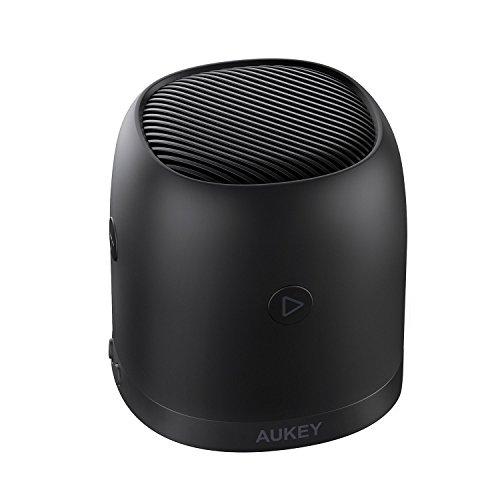 AUKEY Mini Altavoz Bluetooth con Radio FM, Ranura Micro-SD, Altavoces Inalámbricos Portátiles con Graves Mejorados, Carcasa de Metal y Entrada de Audio de 3,5 mm para iPhone, Samsung, Teléfonos Androi