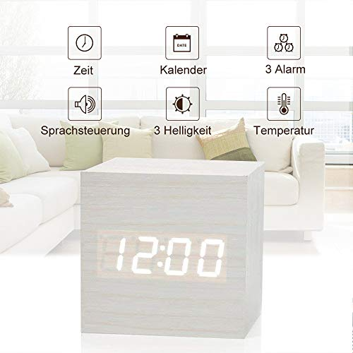 fomobest LED Wecker Wiederaufladbar Holz Tischuhr Klein Cube Datum/Temperatur Anzeige Digital Wecker Weiß