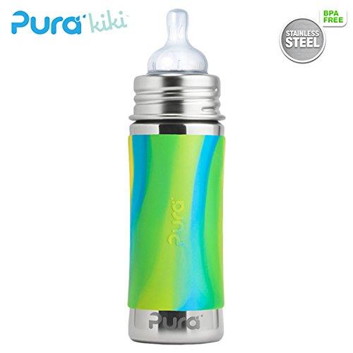 Pura Kiki Trinkflasche - 325ml - Weithalssauger (inkl. Schutzkappe) Pura Farbe/Design Blank + Blue Swirls Überzug
