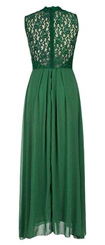 DELEY Damen Elegant Sommerkleid Vintage V-Ausschnitt Spitzen Brautjungfer Chiffon Partykleid Cocktailkleid Langes Abendkleid Grün
