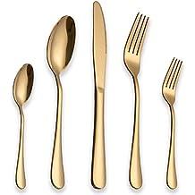 BERGLANDER Set de Cubiertos de Acero Inoxidable 30 Piezas con Chapado en Oro de Titanio,