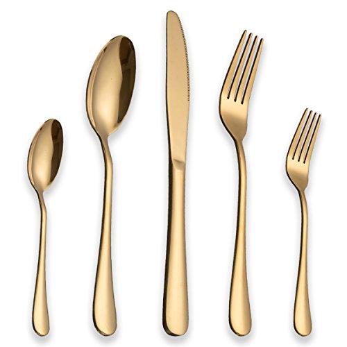 Berglander Edelstahl Besteck Set 30 Stück mit Titan vergoldet, Golden Besteck Set, Gemischte Bestecksets, Besteck Set Service für 6