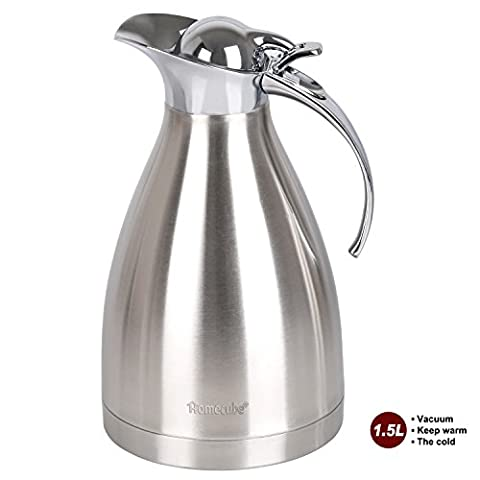 Vacuum Jug, Homecube Coffee Pot Coffee Thermos Stainless Steel Double Wall Vacuum Insulated Coffee Plunger, Juice / Milk / Tea Insulation Pot, 1.5L, 51