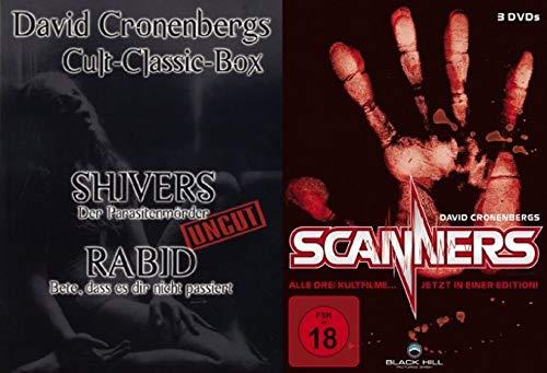 David Cronenberg Uncut Collection - Sivers - Der Parasitenmörder + Rabid - Bete, dass es die nicht passiert + Scanners Teil 1 2 3 DVD Limited Edition