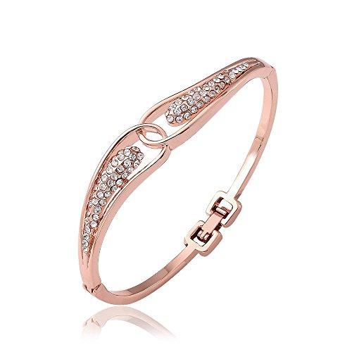 Katylen Weiblich Romantisch Wassertropfen Strass Krappenfassung Umweltfreundliche Rose Gold Mode Chanel Tschechische Diamant Armband, Roségold - Chanel Diamant