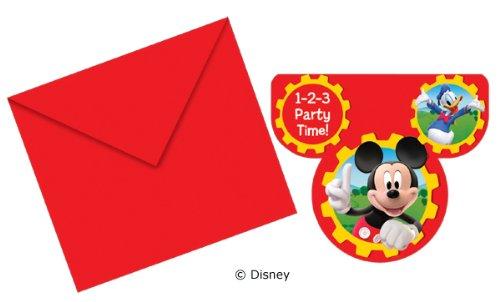 Procos 12-teiliges Einladungs-Set * MICKEY MOUSE * für Party und Geburtstag von DISNEY // Kindergeburtstag Kinder Feier Fete Set Micky Einladungskarten Einladung Invites (Maus Einladung Micky)
