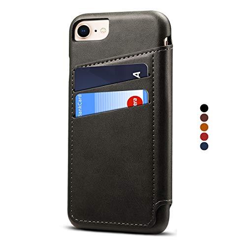 Apple iPhone 6/6s Leder Handy Hülle Flip Case Handytasche Cover Schale mit Kredit Karten Fach Geldbörse Geldklammer Leder Handy Schutzhülle,Schwarz