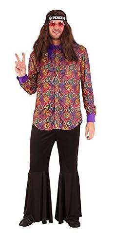 ,Karneval Klamotten' Hippie Kostüm Herren Hemd Flower-Power Kostüm Herren Retro Hemd 60er 70er Jahre Hippie Herrenkostüm Größe (70er Jahre Disco-kostüme Für Kinder)