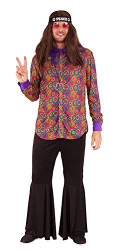 ,Karneval Klamotten' Hippie Kostüm Herren Hemd Flower-Power Kostüm Herren Retro Hemd 60er 70er Jahre Hippie Herrenkostüm Größe (Und Jahre Kostüme 70er 60er)