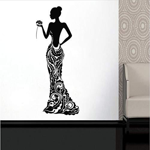 frikanische Frau Vinyl Aufkleber Modell Mädchen Kleid Rose Bobo Muster Wohnkultur Ideen Innenraum Schlafzimmer Wandkunst Mv01 143 * 57 Cm ()