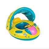 Maicao Baby Schwimmhilfen Aufblasbares Kinderboot Schwimmen Ring mit Sonnendach für Wasserspaß Familienspaß in See Meer Schwimmbad (Gelb)