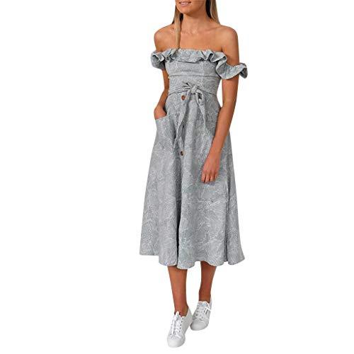 Modaworld Frauen drucken Weg vom Schulter-Sleeveless Partei figurbetontes langes Kleid Beauty Kleider Damen V-Ausschnitt Rückenfrei Abendkleider Elegant Cocktailkleid