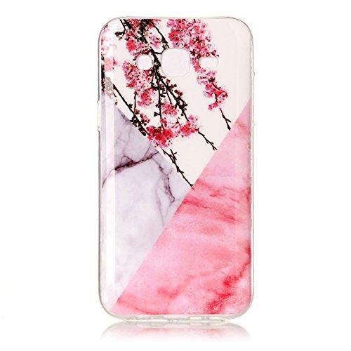 Cozy Hut Für Samsung Galaxy J5 Handyhülle mit Marmor / Marble Design(Rosa / Weiß) | Handytasche | | Schale | | Hülle | | Case | Handy-etui | TPU-Bumper | Soft Case | Schutzhülle Cover für den optimalen Schutz ihres Samsung Galaxy J5 (5 Zoll) - Rosa weißer Pflaumenblütenmarmor