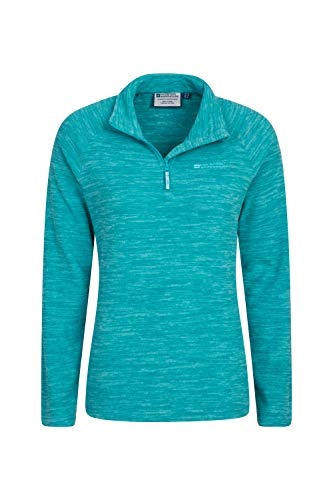 Mountain Warehouse Snowdon Fleecejacke für Damen - Pillingfrei, Leichter Sweater, halber Reißverschluss, atmungsaktiv, schnelltrocknend - Für Wandern, Reisen Blaugrün DE 44 (EU 46)