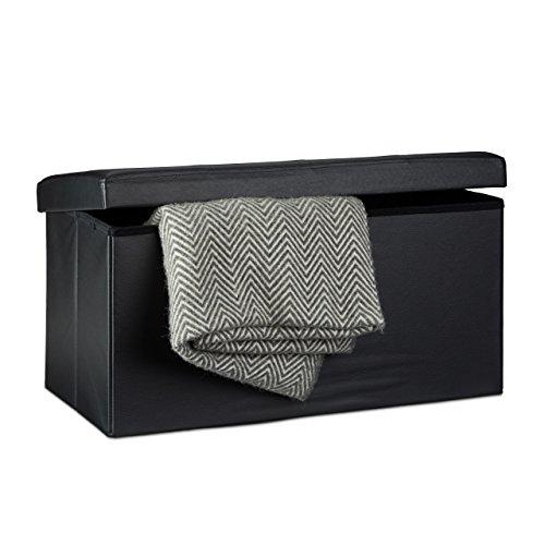 Relaxdays - Banco plegable con espacio de almacenamiento hecho de cuero sintético...
