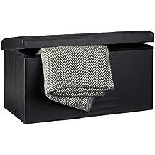 Relaxdays Tabouret pliant en similicuir pouf de rangement pliable repose-pieds de stockage rectangle 38 x 76 x 38 cm avec couvercle amovible assise table ottoman coffre chaise banquette, noir
