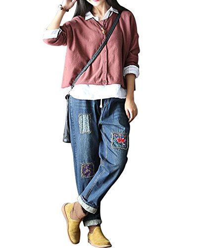 SaiDeng Donna Casual Retrò Ricamo Boyfriend Baggy Roll-Up Jeans L