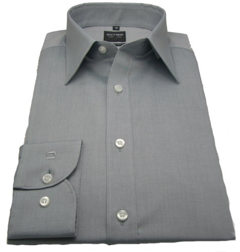Olymp Hemd Level Five - body fit - Chambray - grau (42)