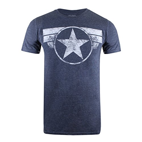 Marvel Herren Cap Logo T-Shirt, Blue (Heather Navy), X-Large