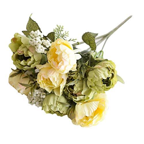 RYcoexs 1 Têtes Artificielle Fleur Pivoine Maison Jardin Scène De Mariage Arrangement De Fête Décor Green