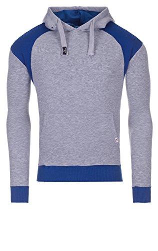 WOOSAH Herren Sweatshirt Kapuzenpullover Garen grey melange / blue (1008)