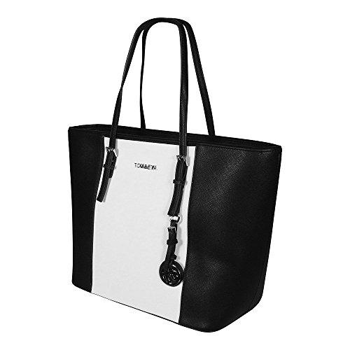 7445c6ae8c22b Tom Eva Damen Handtasche 6228F TEJet Set Travel Bag Tasche Braun Schwarz   Weiß