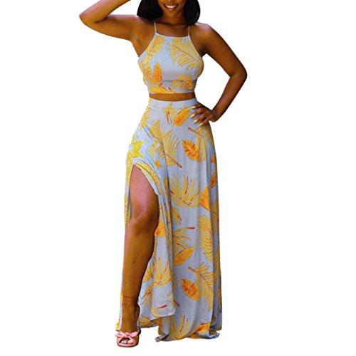 ESAILQ Dress, Women Sexy Backless Strappy Leaf Printed High Split Tank Two-Piece
