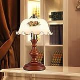 Gasfja Amerikanische Tischlampe Retro Garten Schlafzimmer Nachttischlampe kreative Retro-Code Massivholz Glasdekoration