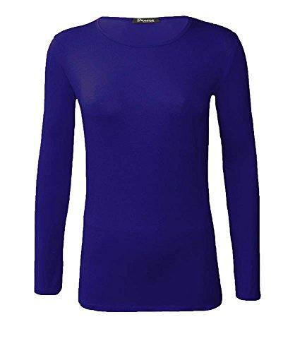 NEUF femmes ras de cou simple uni manches longues T-shirt haut 15 couleurs grande taille UK 8-24 Bleu Marine