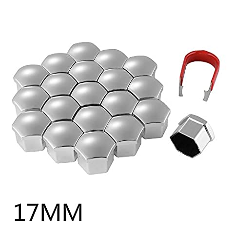 XCSOURCE 20pcs 17mm Universal Plastic Bolts Covers Nut Protector Silver and Removal Tool for Cars Vehicles Wheel Tyre MA776