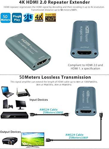 MoneyQiu-HDMI 2.0 Repeater/HDMI Kabel Booster; HDMI 2.0 Signal- Verstärker für Konfigurationen bis 35m 4k ;25 m bei 4K@60Hz, 35 m bei 4K@30Hz, 50 m bei 1080p; YUV 4:4:4;Stützen 3D (Hdmi-kabel Booster)