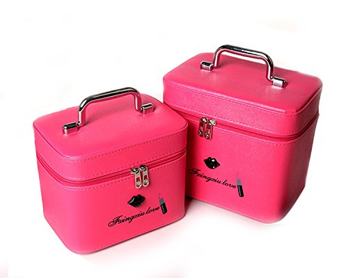 Zwei Sätze Von Kosmetiktüten Große Kapazität Tragbare Wasserdichte Stereotypen Kosmetik Fall Professionelle Schöne Make-up Tasche Rose
