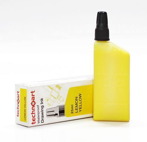 Wasserfeste Tusche für technischen Tuschezeichner / Tuschestift, Lemon-Gelb, 25ml (kompatibel mit...