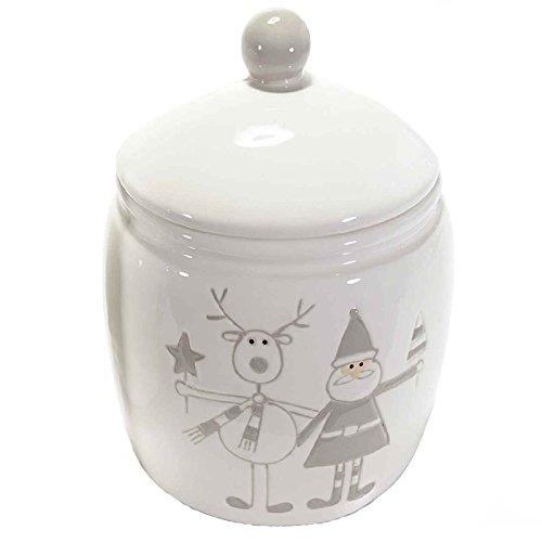 Barattolo in ceramica lucida porta biscotti e dolciumi con decoro natalizio. barattoli natale babbo natale renne