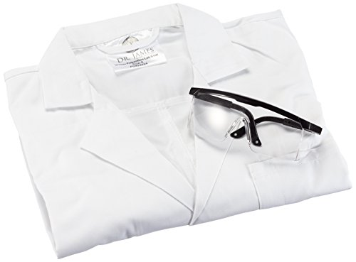 Price comparison product image Dr. James SLK-S Unisex Polycotton Lab Coat and Anti-Scratch Safety Glasses,  Student Lab Kit,  Small,  White