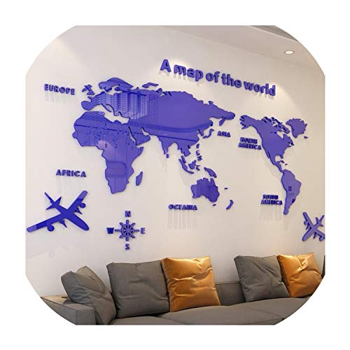 Bernice Winifred Moderne Weltkarte Acryl Dekorative 3D Wandaufkleber Für Wohnzimmer Schlafzimmer Büro Decor 5 Größen DIY Wandaufkleber Wohnkultur Dunkelblau S 0 8x0 4 mt