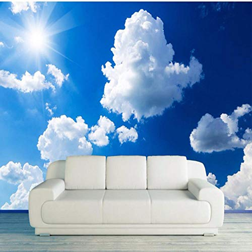 Benutzerdefinierte 3D Fototapete Blauer Himmel Weiße Wolken Sonnenschein Landschaft Große Wandbilder Wandmalerei Wohnzimmer TV Hintergrund Dekor-360 * 280cm (Himmel Und Wolken)